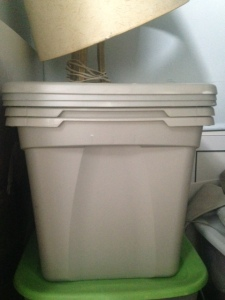 My Rubbermaid bins looking sweet and innocent, now empty and stacked in a closet.